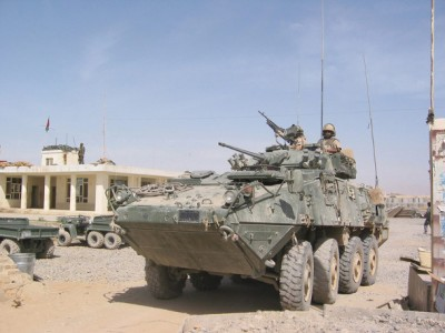 Canadian-built Light Armoured Vehicles III, pictured above, are equipped with multiple weapons. Source: Government of Canada.