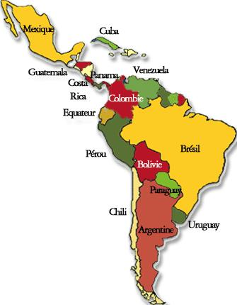 Carte des interventions étasuniennes en Amérique latine depuis ...